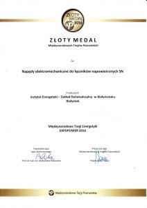 Złoty Medal MTP 2016 dla IE-ZD
